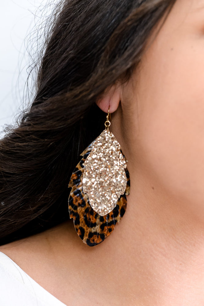 Leopard/Gold Layered Feather Earrings - EAR3254LE