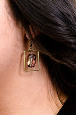 Bronze/Rose Gold Crystal Rectangle Earrings - EAR3288RG