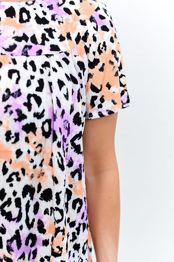 Do I Ever Cross Your Mind Ivory/Multi Color Leopard Top - B10592IV