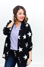 Take Time To Gaze At The Stars Black/White Star Printed Blazer - O3011BK