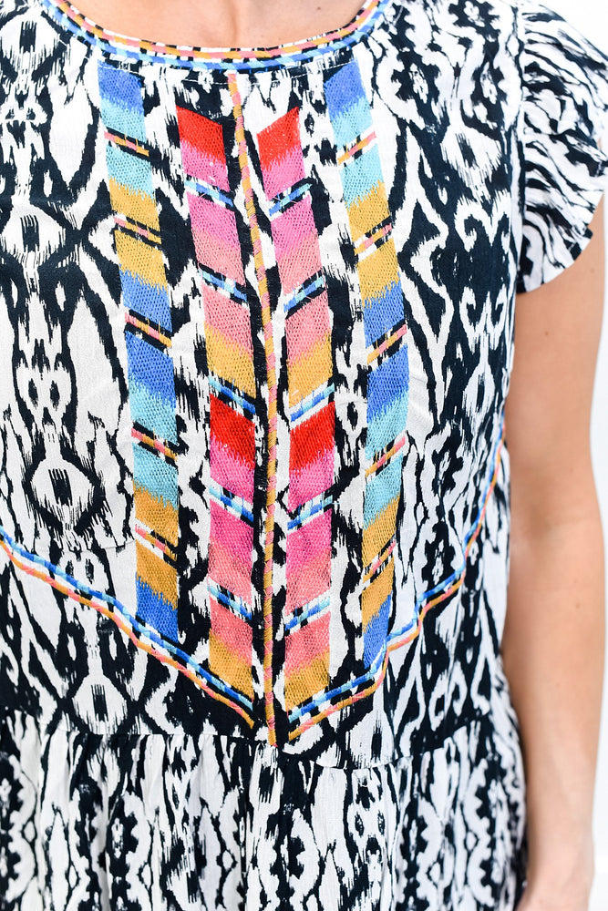Gates Of Eden Ivory/Multi Color Embroidered/Printed Top - B10627IV