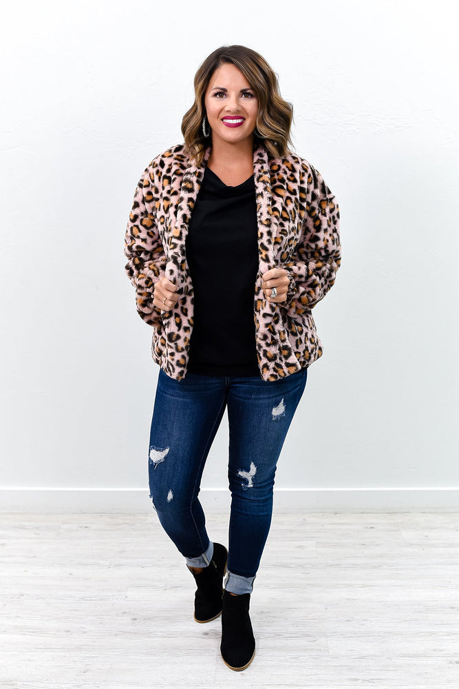Night On The Town Pink Leopard Fuzzy Jacket - O2735PK