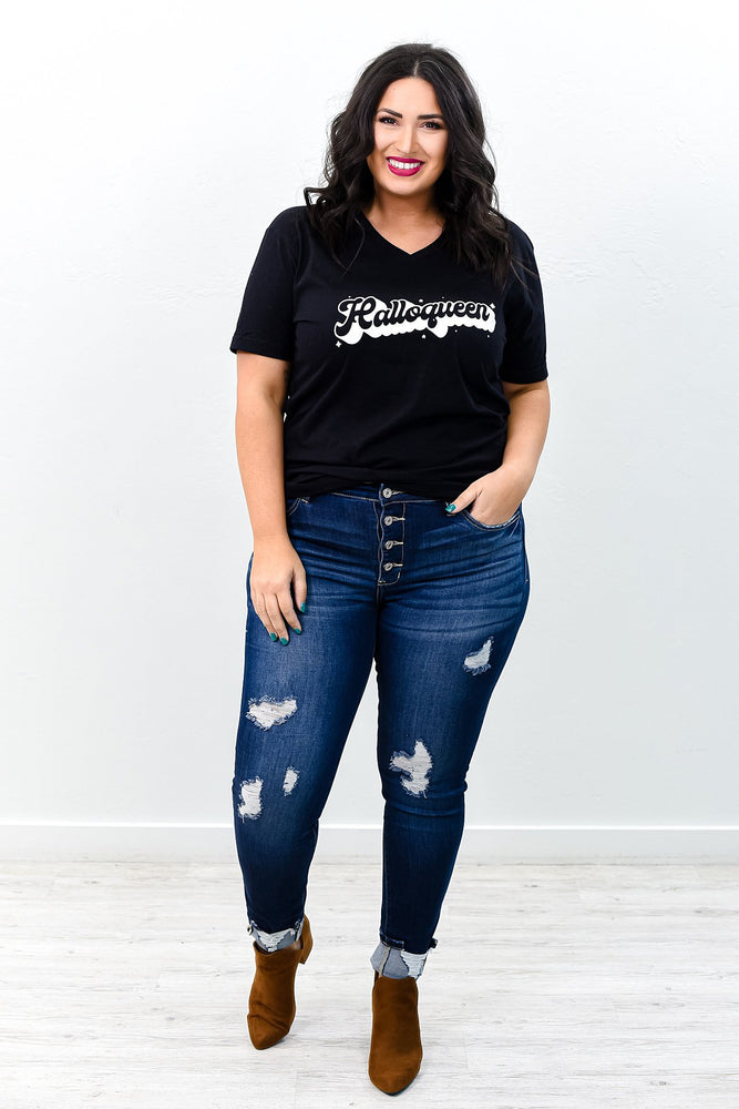 Too Blessed To Be Stressed Dark Denim Distressed Jeans - K497DN