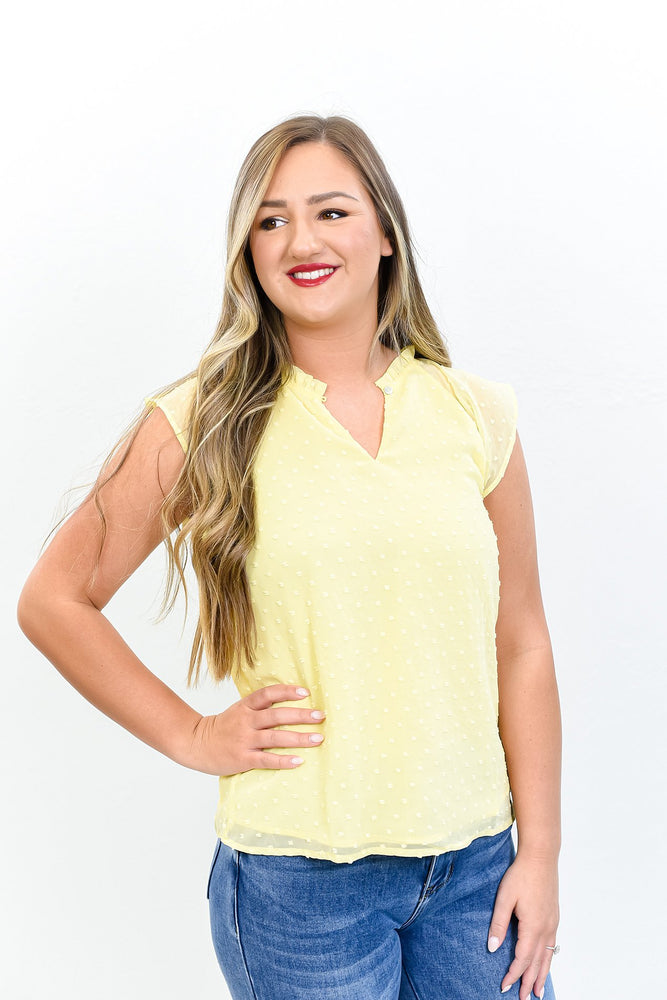 Spring In Manhattan Yellow Polka Dot Peekaboo Top - B10655YE