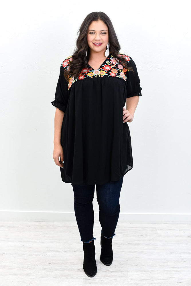 Blinded By Love Black/Multi Color Embroidered V Neck Tunic - B10653BK