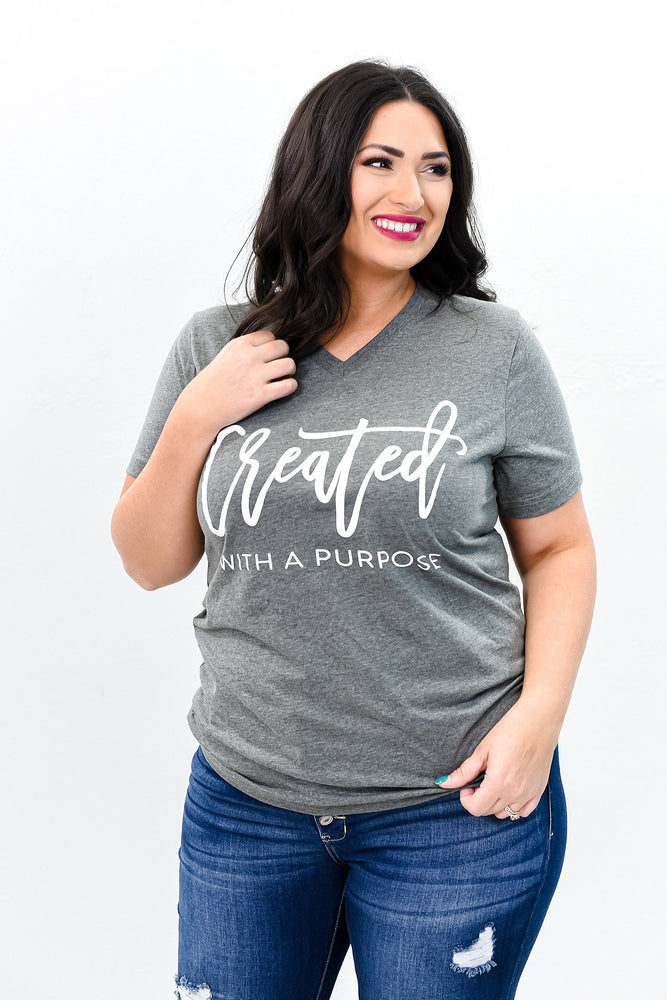 Created With A Purpose Deep Heather Gray V Neck Graphic Tee - A844DHG