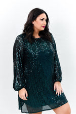 Own The Occasion Teal Sequins Long Sleeve Dress - D3585TE