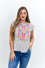 A Perfect Match Ivory/Multi Color Embroidered/Printed Top - B10644IV
