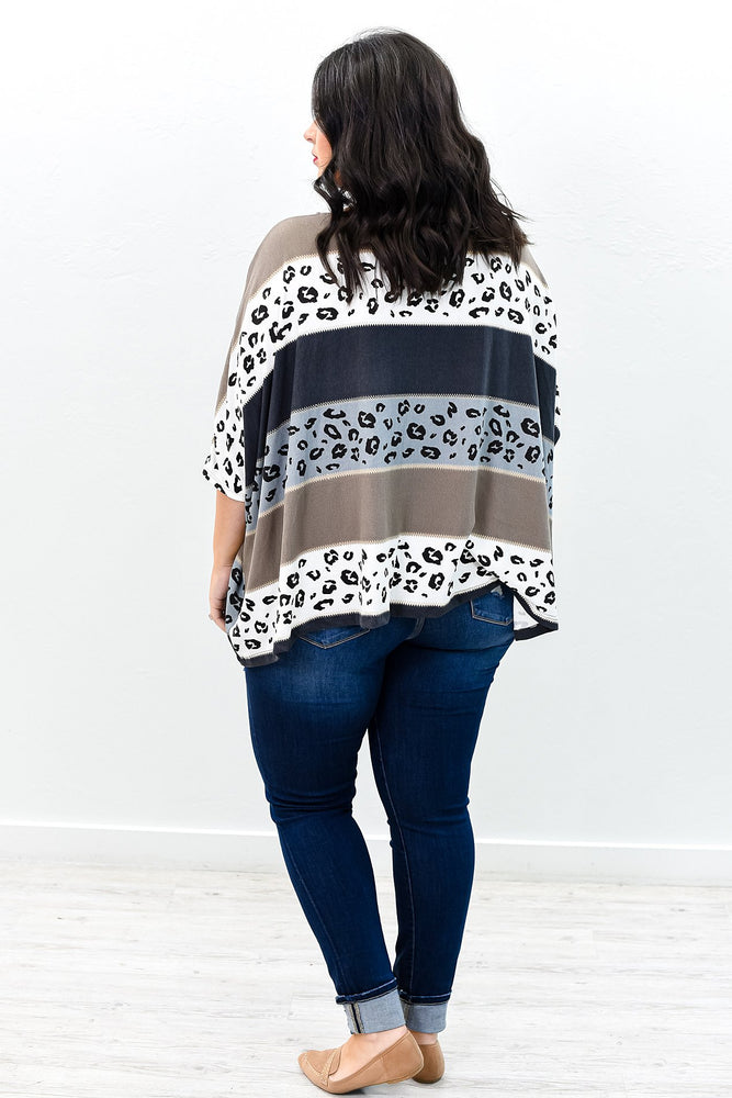 Keep Your Secrets Charcoal Gray/Multi Color Striped/Leopard Top (One Size 18-26) - B9501CG