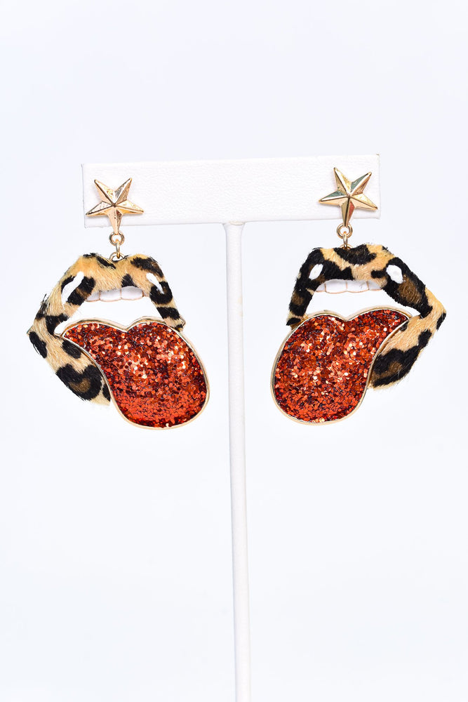 Gold/Red/Leopard/Star/Lips & Tongue/Sparkle Earrings - EAR3394GO