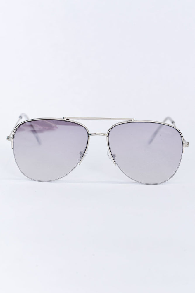 Silver Frame/Clear/Gray Mirrored Lens Sunglasses - SGL302SI - FREE Hard Case
