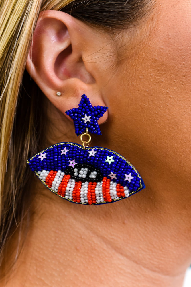 Red/White/Blue/Seed Bead/Star/Mouth Earrings - EAR3393BL