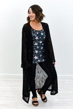 Falling Like The Stars Black Star Printed Sheer Duster - O3024BK