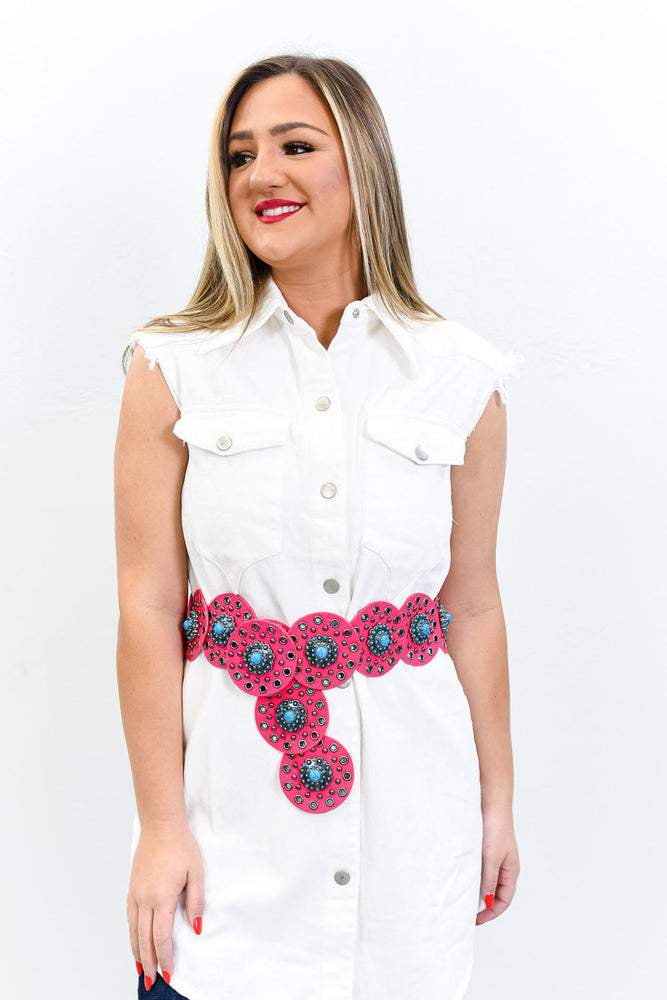 Neon Pink/Turquoise Marble Concho Belt - BLT1188NPK