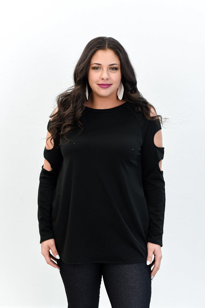 Already Calling You Mine Black Solid Open Sleeves Top - B10676BK
