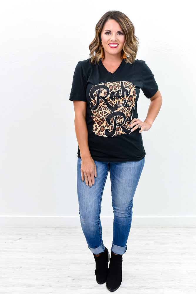 Rock And Roll Vintage Black Leopard V Neck Graphic Tee - A851VBK