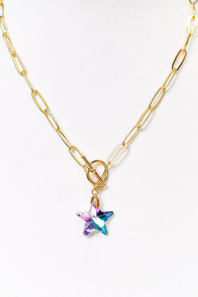 Purple/Blue Crystal Star Pendant Necklace - NEK3675PU