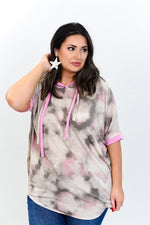 Colors Of My Life Taupe/Pink Tie Dye Hooded Top - B10695TA