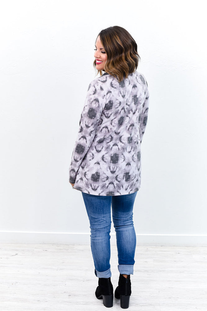 She's Into The Groove Charcoal Gray Tie Dye V Neck Top - B9555CG