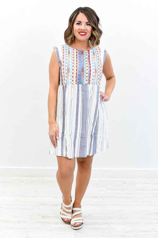 Make A Grand Entrance Ivory/Multi Color Striped/Embroidered Dress - D3696IV