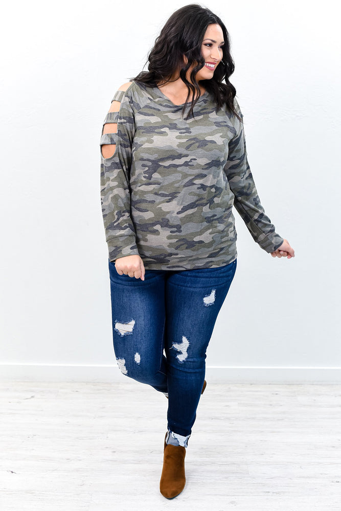 Rock The Room Camouflage Open Sleeves Top - B9560CA