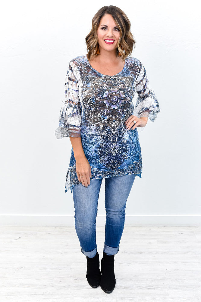 Sheer Perfection Ivory/Navy Floral/Multi Pattern Sheer Lace Top - B9569IV