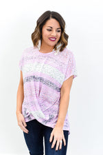 Happy To Have You Purple/Multi Color Multi Pattern Front Twist Top - B10683PU