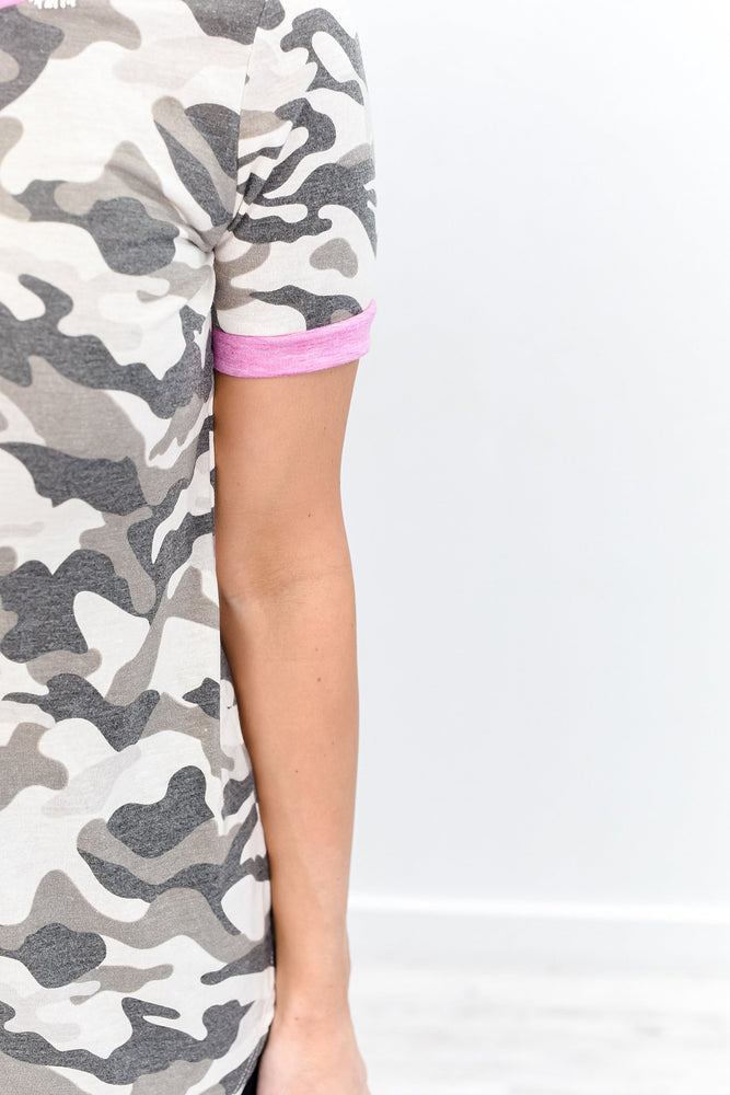 Waiting For You Taupe/Pink Camouflage High-Low Top - B10686TA