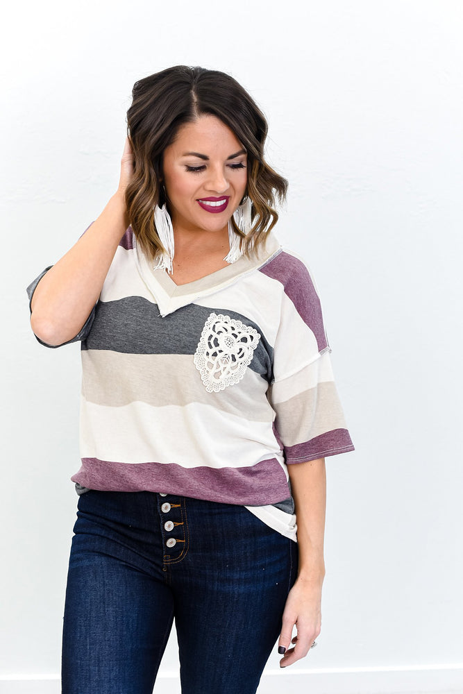 Road To Happiness Taupe/Multi Color Striped V Neck Top - B10685TA