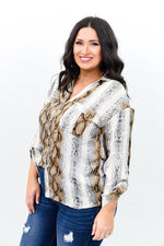 Snake A Difference Gray/Taupe Snakeskin V Neck Top - B9576GR