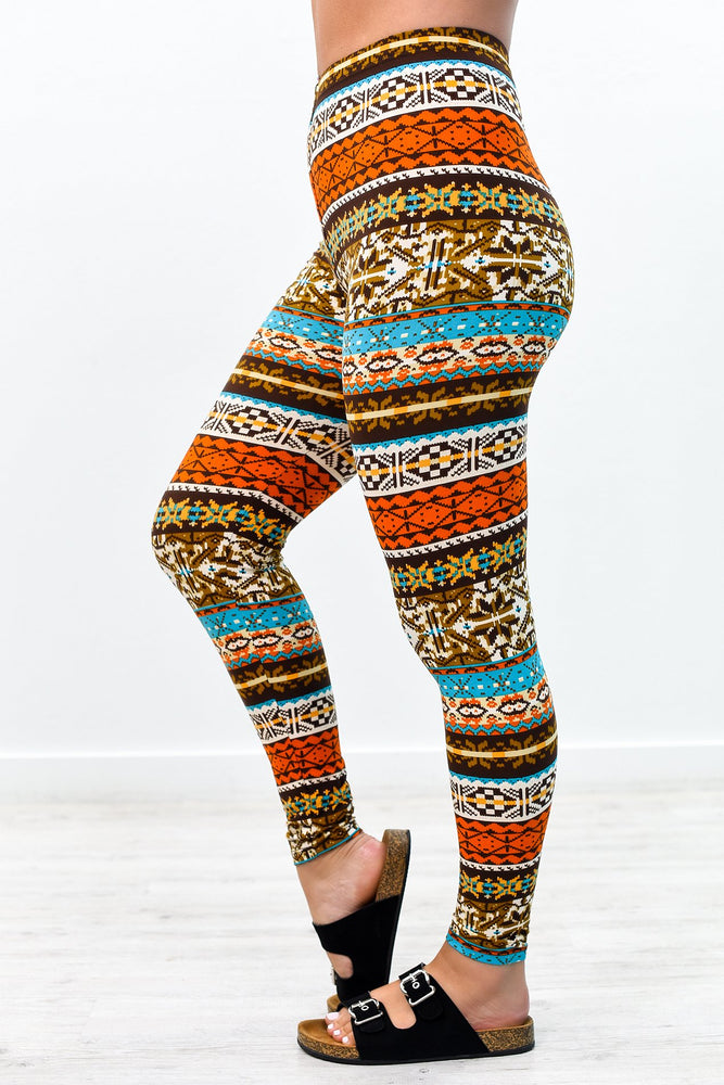 Ivory/Multi Color Aztec Printed Leggings (Sizes 4-12) - LEG2687IV