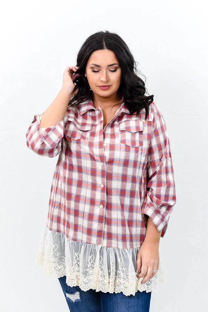 The Way Out West Red/Beige Plaid Lace/Embroidered Top - B9581RD