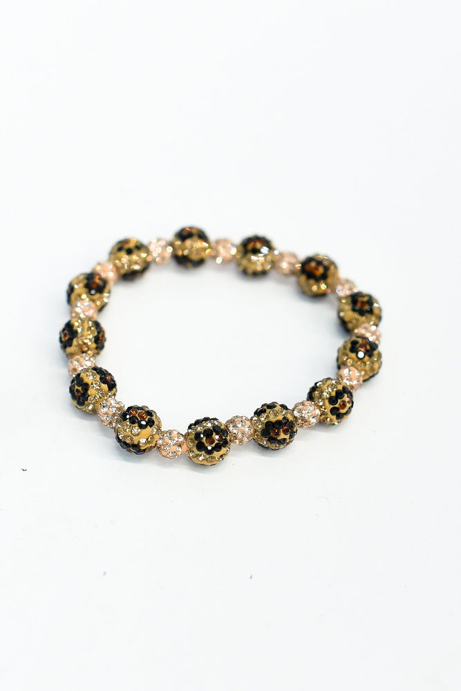 Peach/Bling Leopard Beaded Stretch Bracelet - BRC2791PE