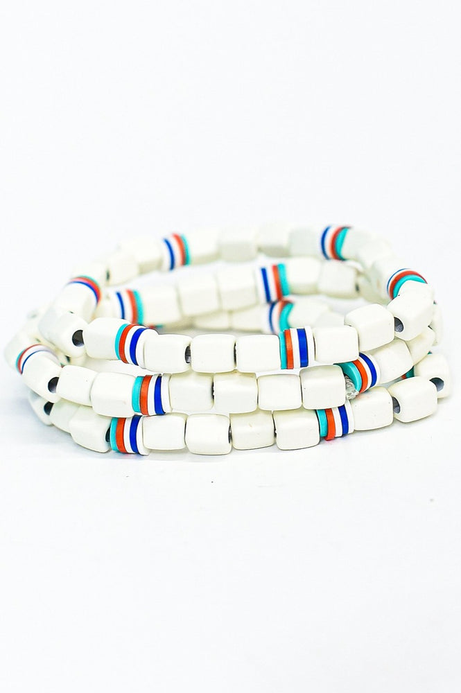 White/Multi Color Beaded Stackable Stretch Bracelet - BRC2784WH