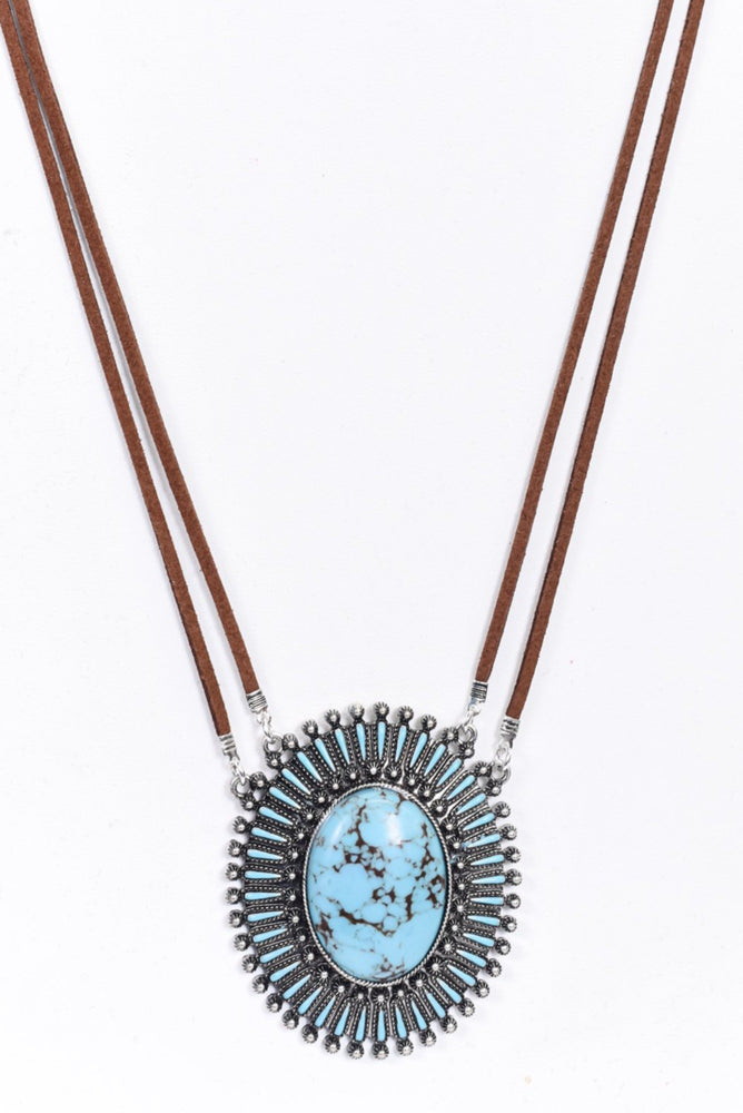Brown/Turquoise/Suede/Oval/Marble Stone Pendant Necklace - NEK3822BR