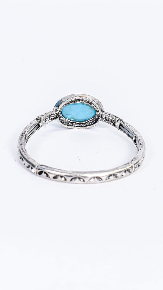 Turquoise/Silver/Marble Stone Pendant/Stretch Bracelet - BRC3034TQ