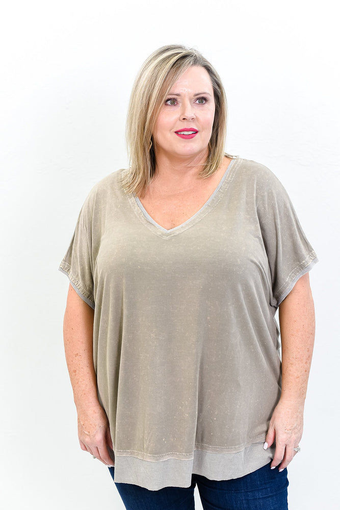 A New You Vintage Mocha V Neck Top - B10611VMO