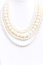 Cream Pearl Layered Necklace - NEK3678CR