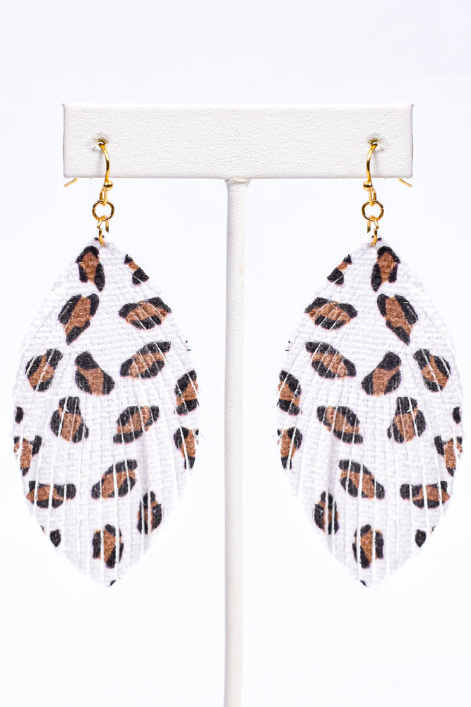 White Leopard Feather Earrings - EAR3256WH