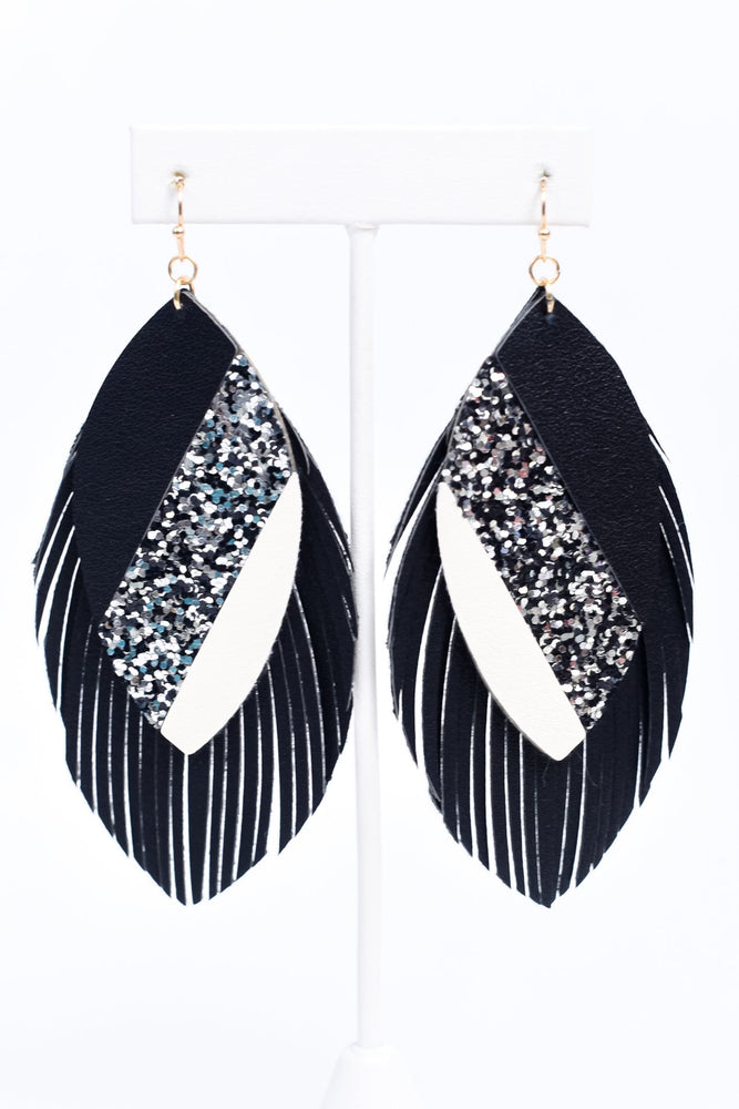 Black/Glitter/White Layered Feather Earrings - EAR3258BK