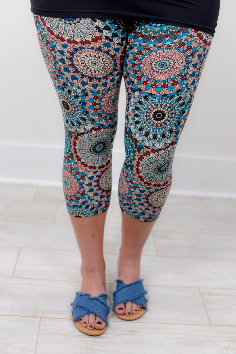 Multi Color Circle Pattern Printed Leggings (Sizes 12-18) - LEG1146MU-Tee for the Soul