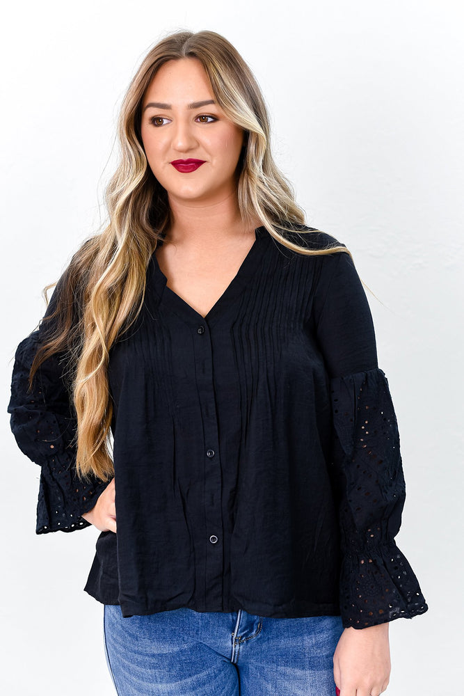 Dressed For Success Black Embroidered High-Low Top - B10709BK