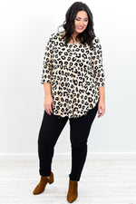 Your Favorite Song Taupe Leopard Babydoll Top - B9613TA