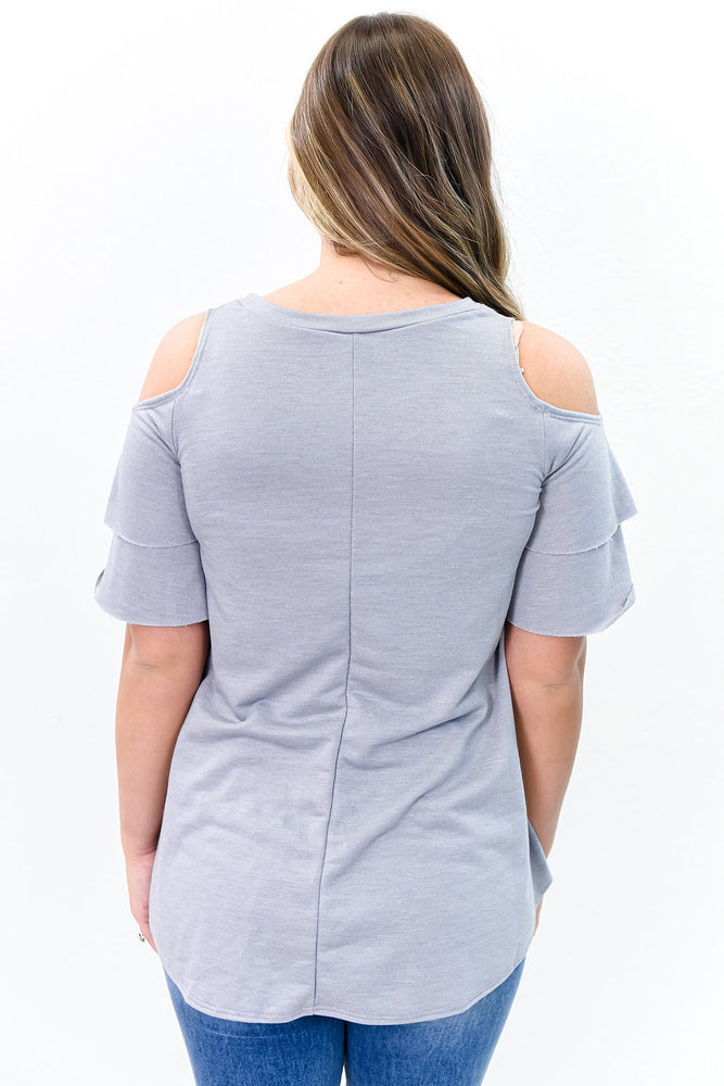 The Perfect Day Gray Open Shoulder Top - B10736GR