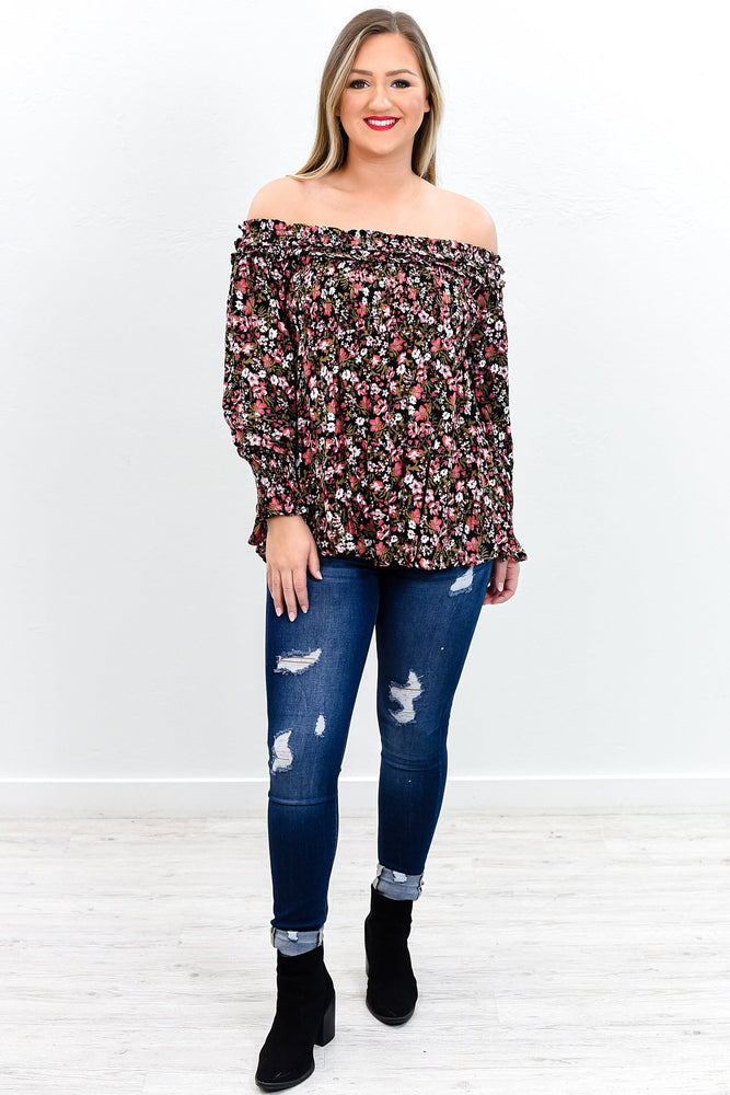 Blooming In Love Black/Multi Color Floral Off The Shoulder Top - B9597MU