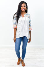 Everlasting Love Ivory/Multi Color Striped/Embroidered V Neck Top - B9032IV