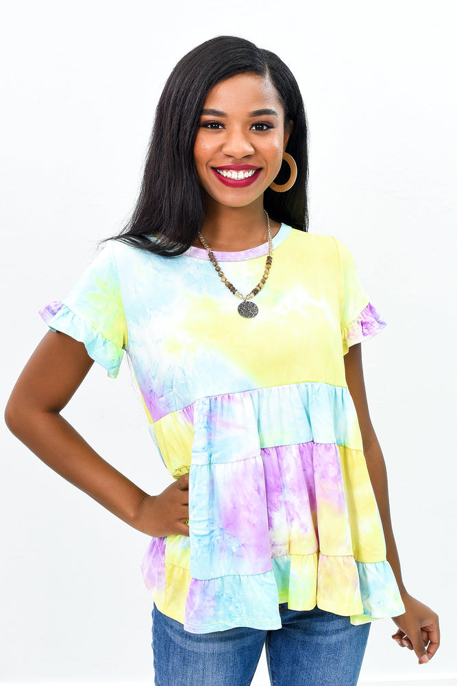 Bright Sunshiny Days Purple/Multi Color Tie Dye Top - B9031PU