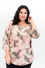 Searching The Galaxy Mauve Tie Dye Open Shoulder Top - B9626MV