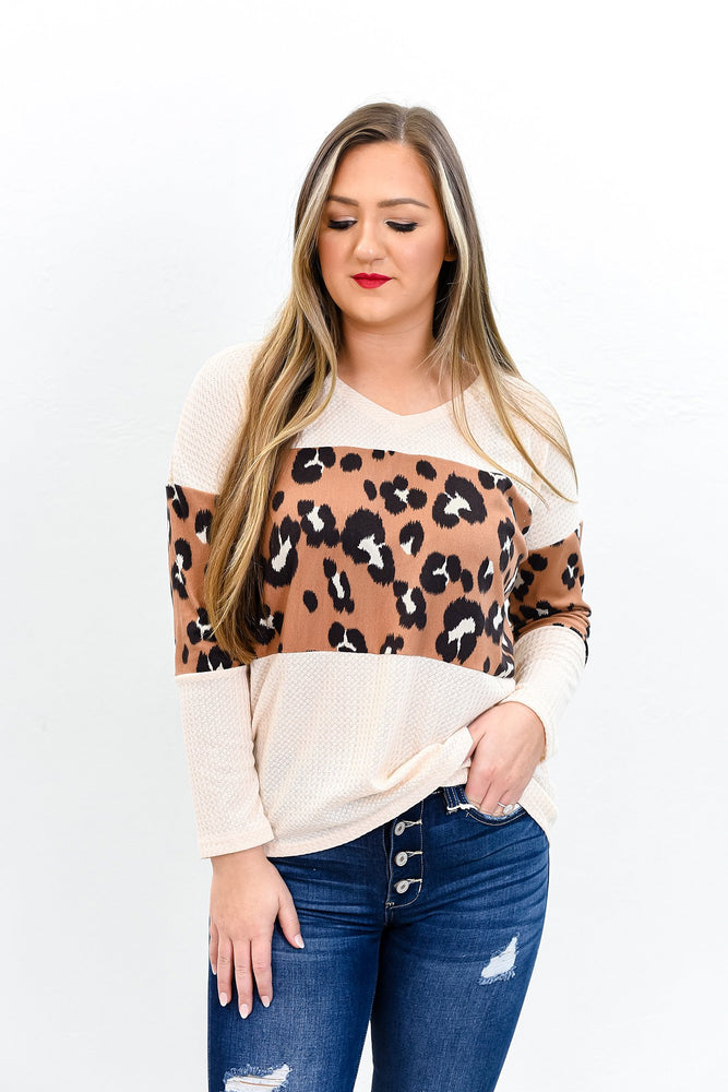 Welcome To The Safari Oatmeal Leopard Top - B9625OA