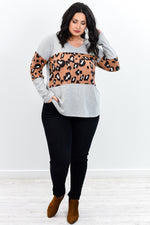Welcome To The Safari Heather Gray Leopard Top - B9624HGR